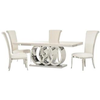 Lillian/Joy White 5-Piece Formal Dining Set