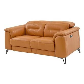 Anabel Tan Power Motion Leather Loveseat