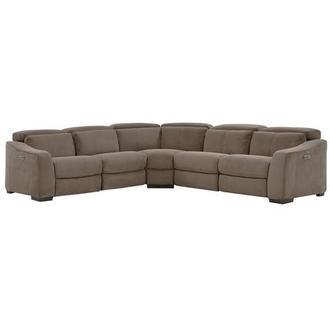 Jameson Brown Power Motion Sofa w/Right & Left Recliners