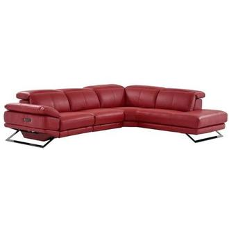 Toronto Red Power Motion Leather Sofa w/Right Chaise