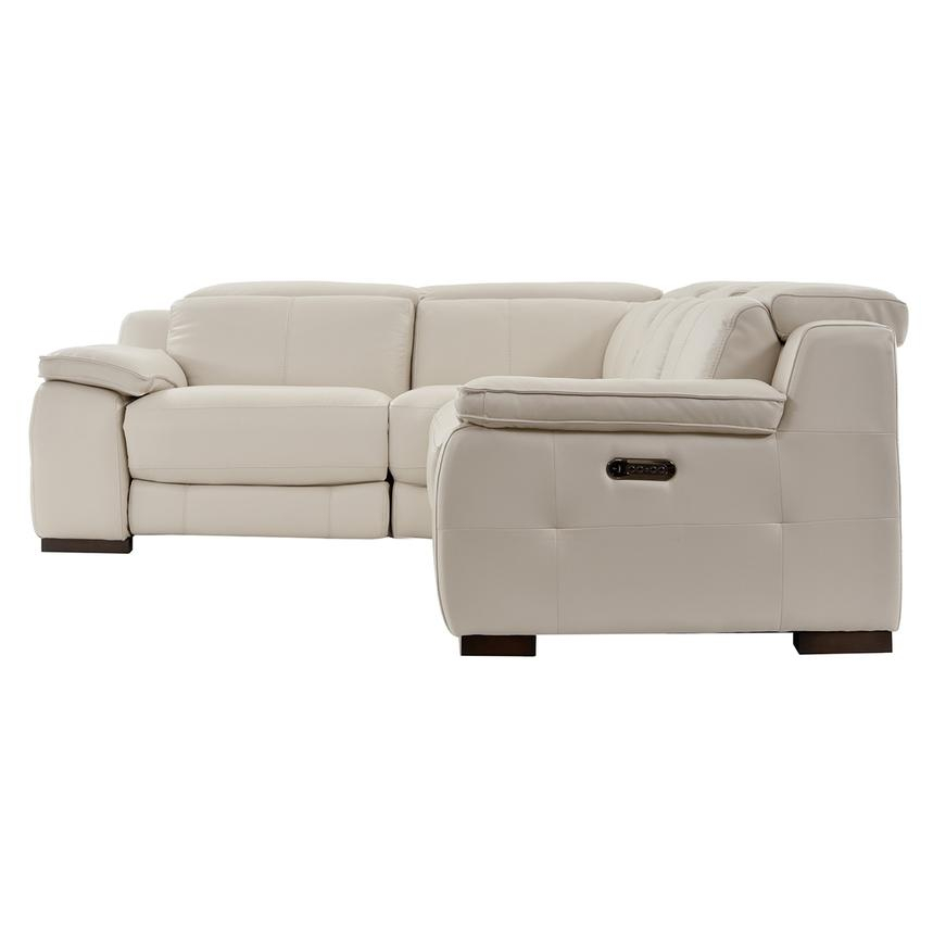 Gian Marco Cream Power Motion Leather Sofa w/Right & Left Recliners  alternate image, 3 of 6 images.