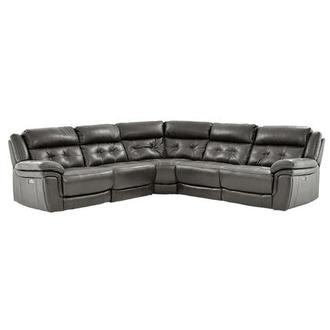 Stallion Gray Power Motion Leather Sofa w/Right & Left Recliners