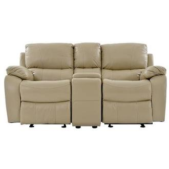 Mack Tan Recliner Leather Sofa w/Console