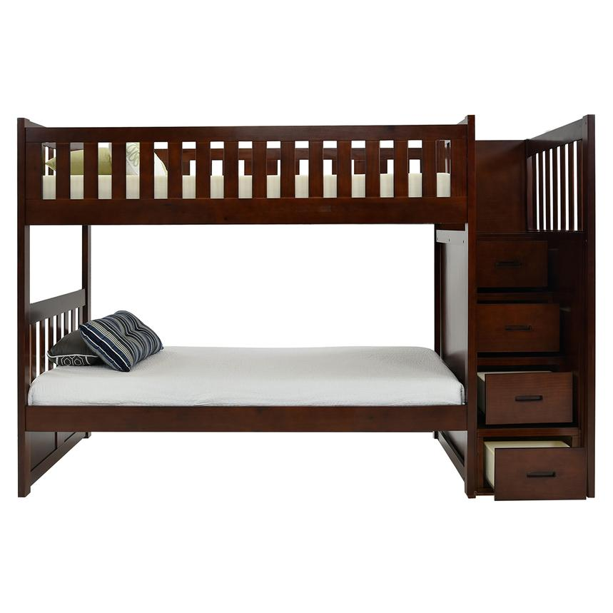 Balto Brown Twin Over Twin Bunk Bed w/Storage  alternate image, 3 of 7 images.