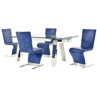 Madox/Zoey Blue 5-Piece Formal Dining Set