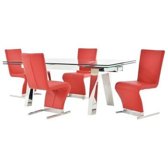 Madox/Zoey Red 5-Piece Formal Dining Set