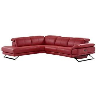 Toronto Red Power Motion Leather Sofa w/Left Chaise