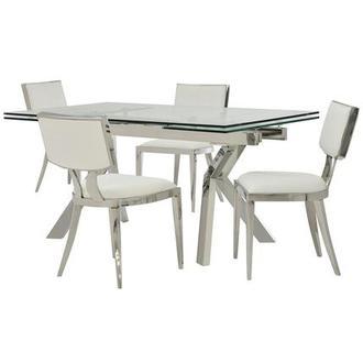 Ella Clear/Natalia White 5 Piece Formal Dining Set