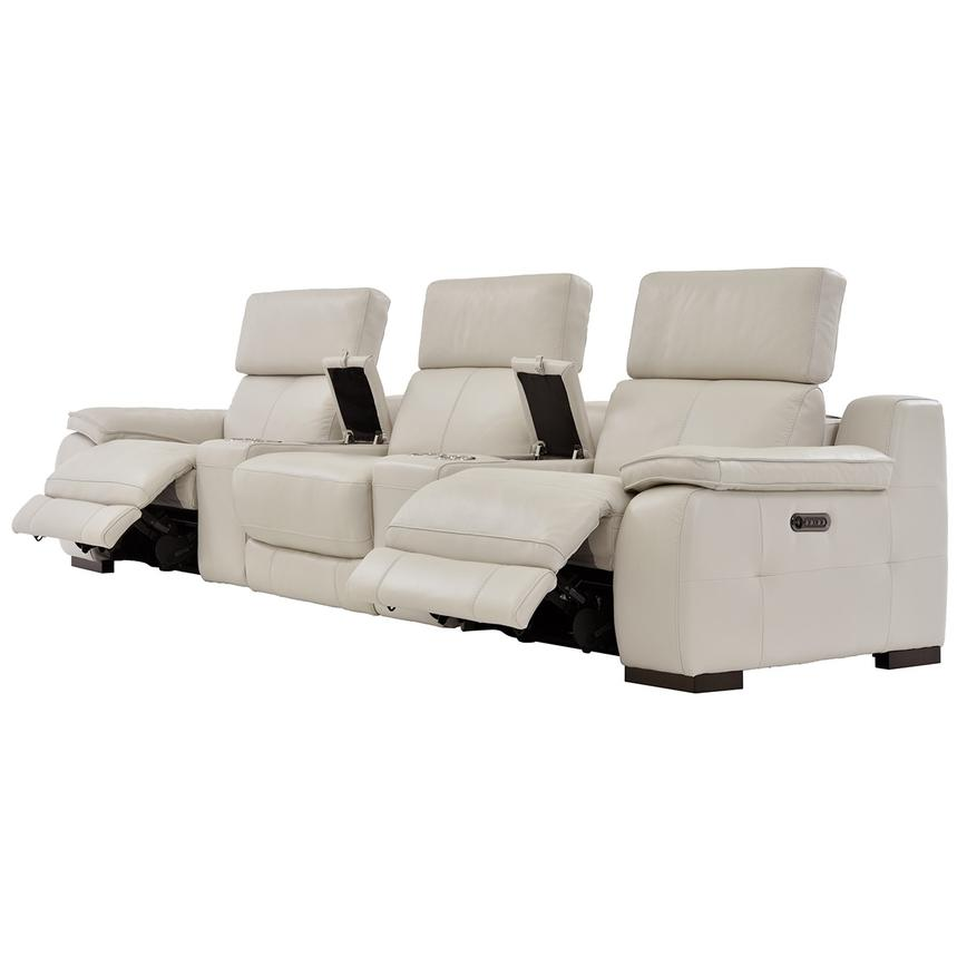 Gian Marco Cream Home Theater Leather Seating  alternate image, 3 of 8 images.