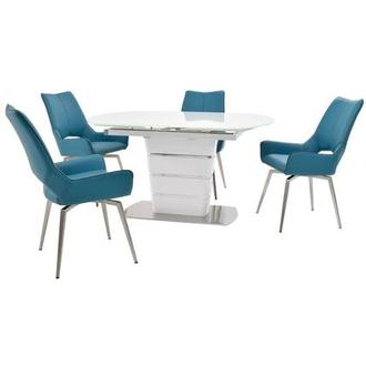 Santal/Kalia Blue 5-Piece Formal Dining Set