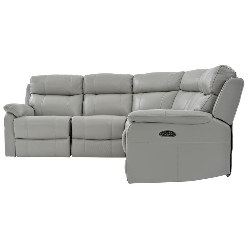Ronald Gray Power Motion Leather Sofa w/Right & Left Recliners  alternate image, 3 of 6 images.