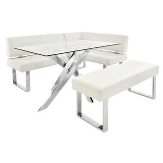 Genevieve White Corner Nook Set w/Bench