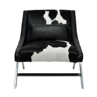 Krava Black Leather Accent Chair