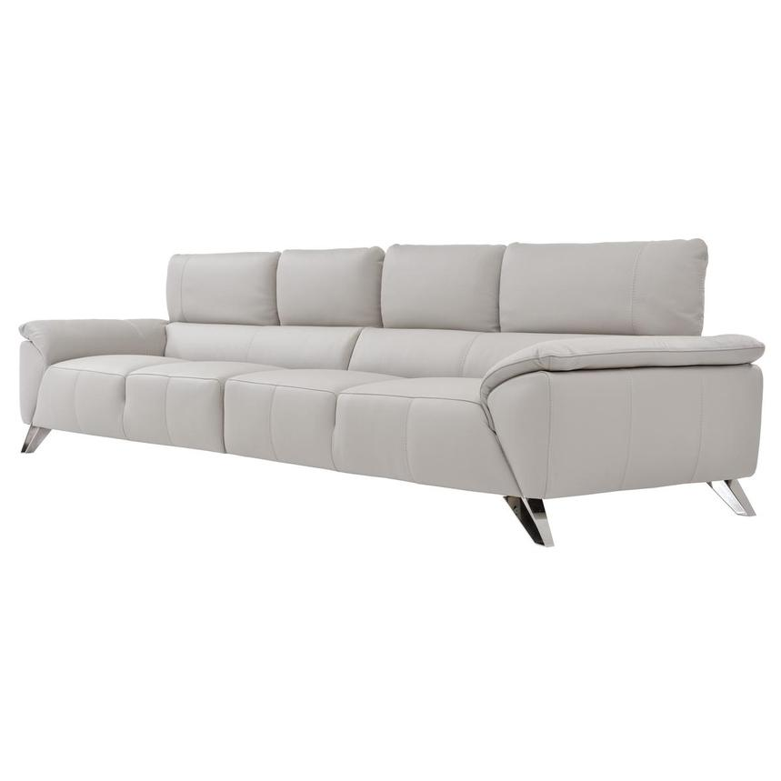 Tesla Gray Oversized Leather Sofa  alternate image, 3 of 5 images.