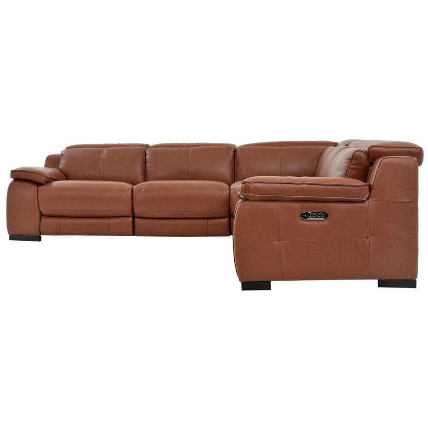Gian Marco Tan Power Motion Leather Sofa w/Right & Left Recliners  alternate image, 3 of 6 images.