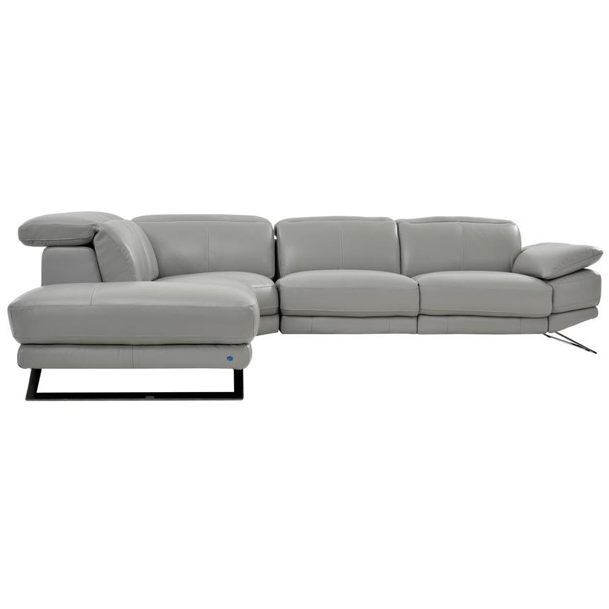 Toronto Light Gray Power Motion Leather Sofa w/Left Chaise  alternate image, 3 of 7 images.