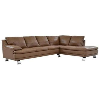 Rio Tan Leather Sofa w/Right Chaise