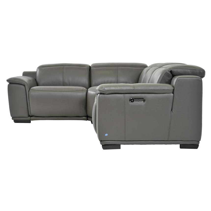 Davis 2.0 Gray Power Motion Leather Sofa w/Right & Left Recliners  alternate image, 3 of 6 images.