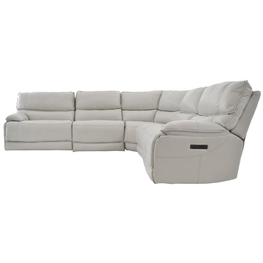 Mumble Gray Power Motion Leather Sofa w/Right & Left Recliners  alternate image, 3 of 6 images.