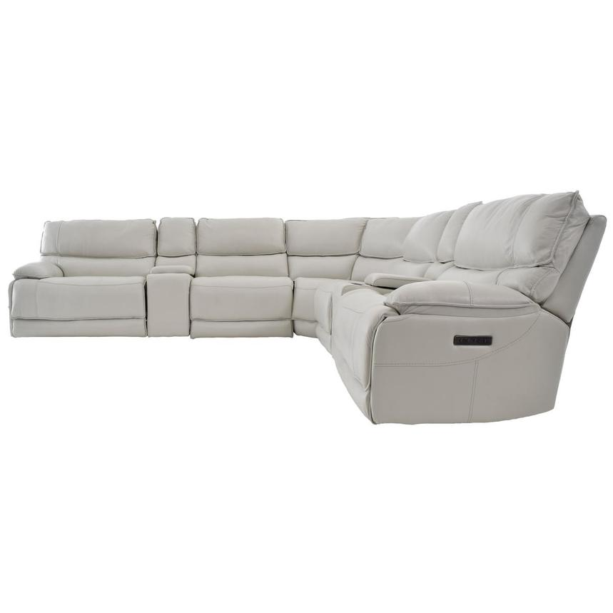 Mumble Gray Power Motion Leather Sofa w/Right & Left Recliners  alternate image, 3 of 8 images.