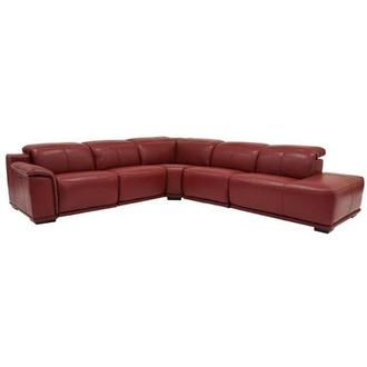 Davis 2.0 Red Power Motion Leather Sofa w/Right Chaise