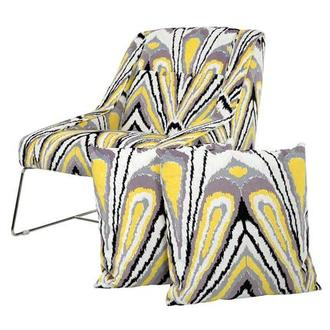 Tutti Frutti Yellow Accent Chair w/2 Pillows
