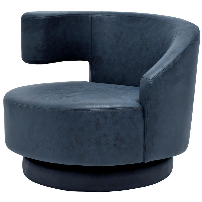 Okru Dark Blue Swivel Chair W 2 Pillows El Dorado Furniture