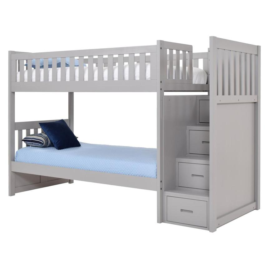 Balto Gray Twin Over Twin Bunk Bed w/Storage  alternate image, 4 of 7 images.