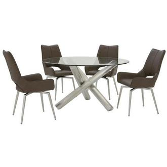 Addison/Kalia Brown 5-Piece Formal Dining Set