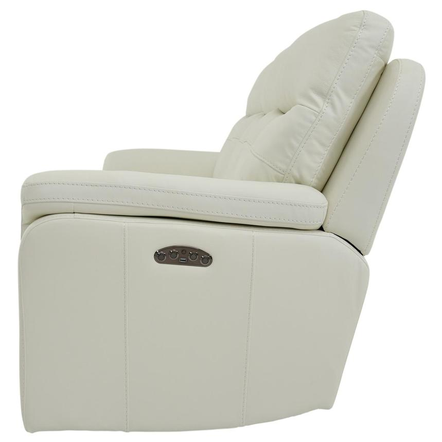 Zane Cream Power Motion Leather Sofa w/Console  alternate image, 4 of 10 images.