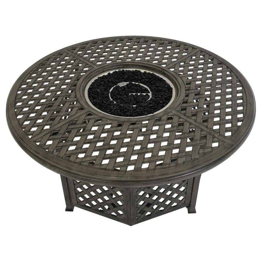 Castle Rock Gray Round Dining Table w/ Fire Pit  alternate image, 4 of 6 images.