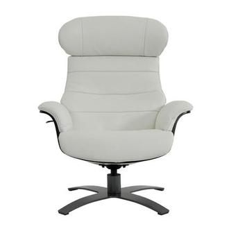 Enzo II White Leather Swivel Chair