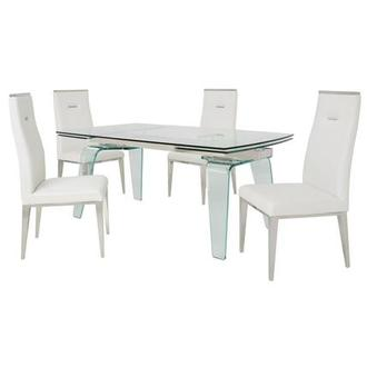 Boston/Hyde White 5-Piece Formal Dining Set