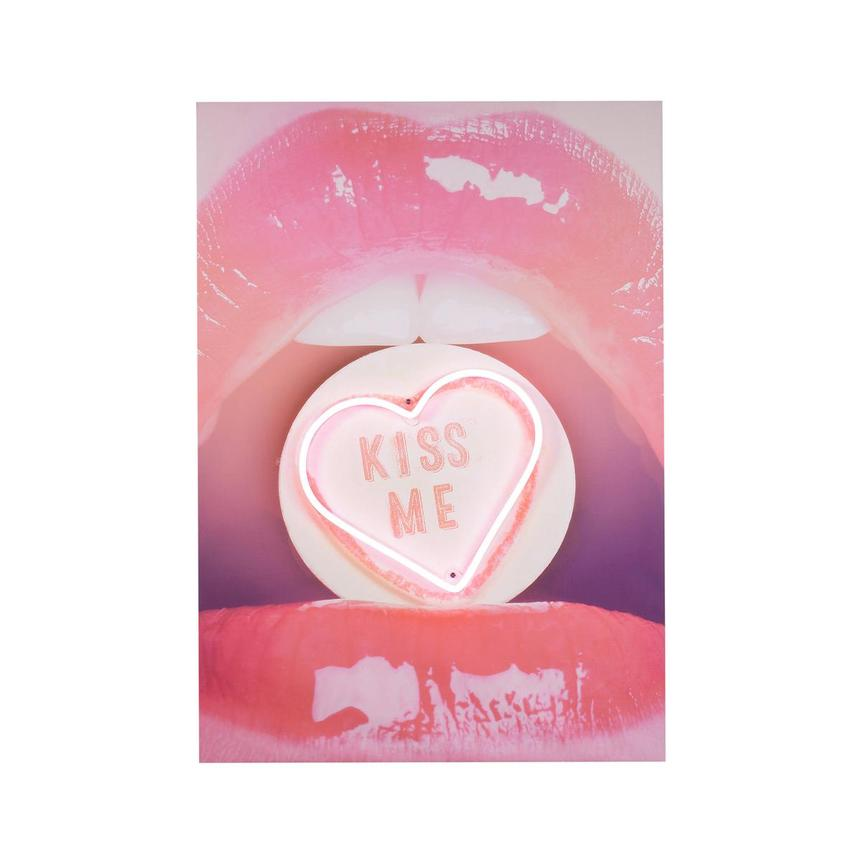 Kiss Me Wall Decor w/Neon LED Light  main image, 1 of 3 images.