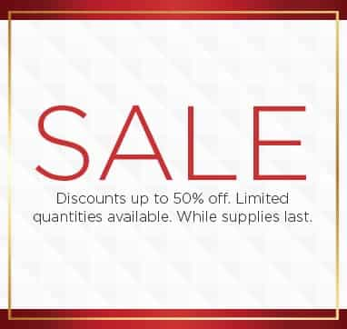 Sale. Discounts up to fifty percent off. Limited Quantities available. While supplies last. Shop now.