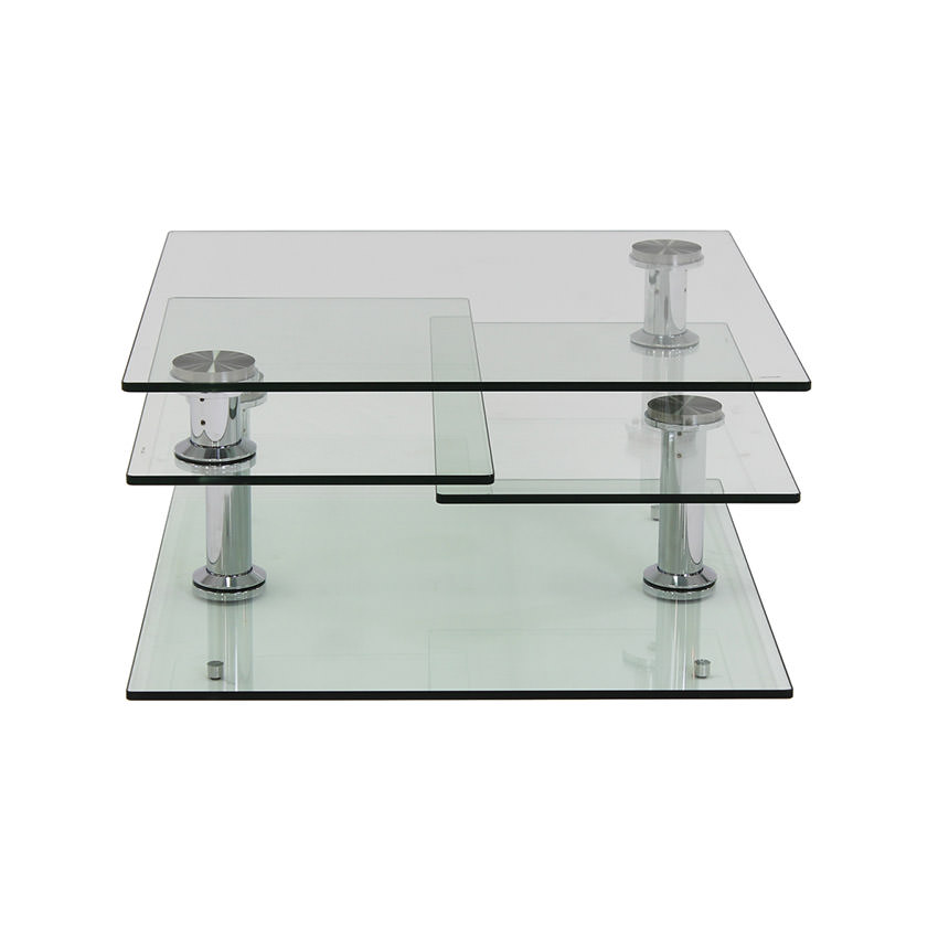 Square Clear Silver Motion Coffee Table  alternate image, 4 of 8 images.