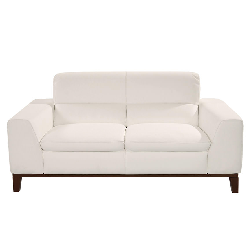 Milani White Leather Loveseat  alternate image, 3 of 6 images.