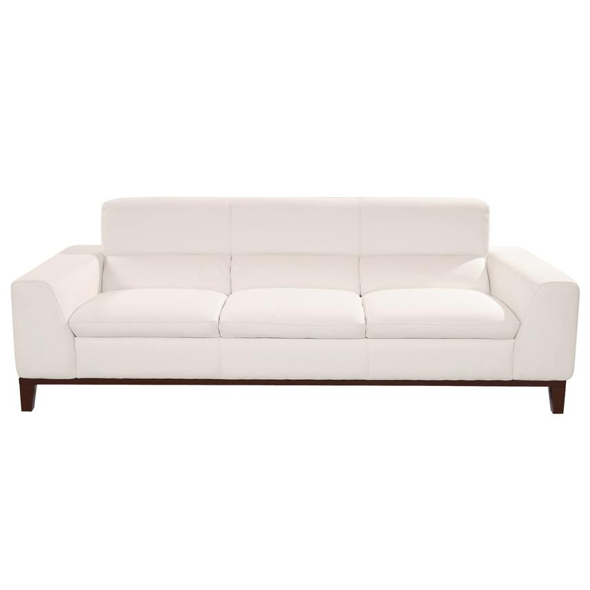 Milani White Leather Sofa  alternate image, 3 of 6 images.