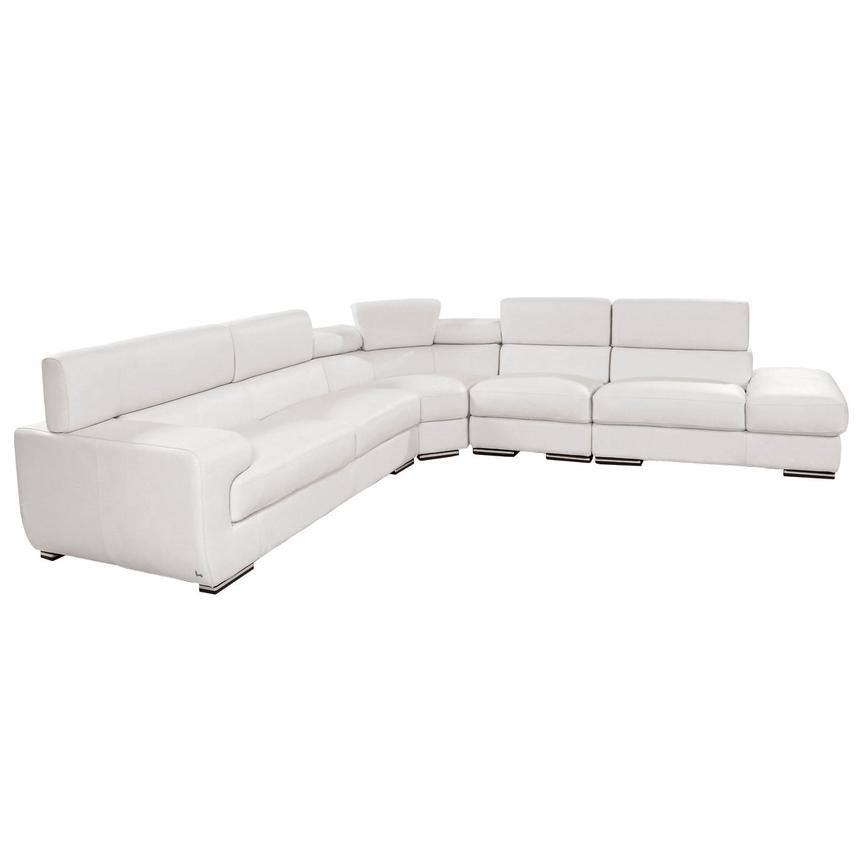 Grace White Leather Sectional Sofa w/Right Chaise  alternate image, 3 of 8 images.