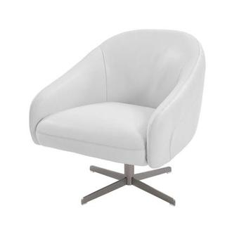 Brookville White Leather Swivel Chair