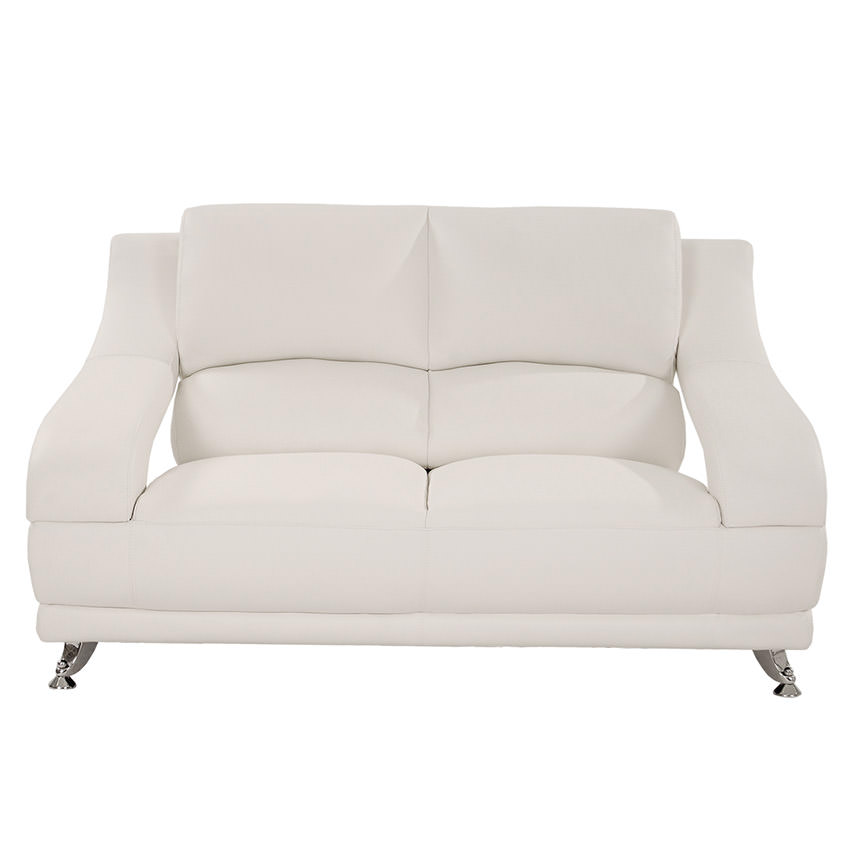 Jedda White Leather Loveseat  alternate image, 2 of 6 images.