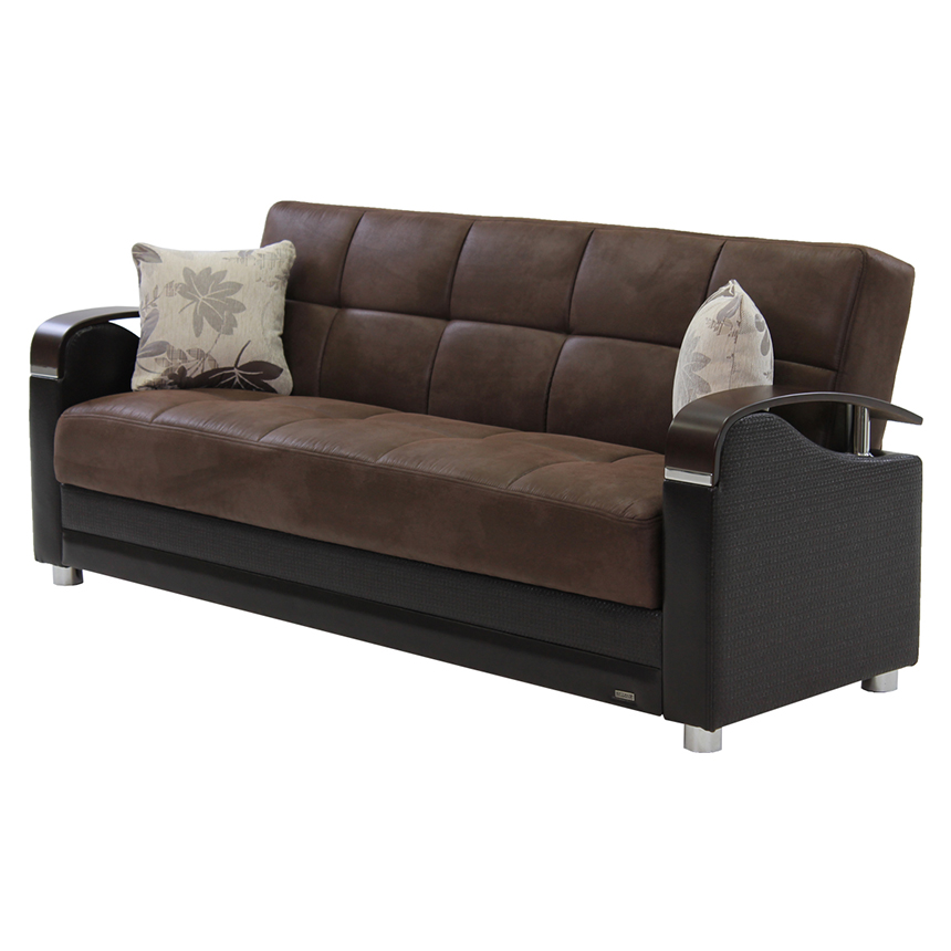 Peron Chocolate Futon Sofa  main image, 1 of 7 images.