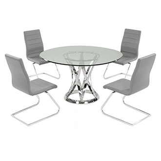 Janet Clear/Gray 5-Piece Casual Dining Set