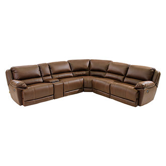 Augusto Chocolate Power Motion Sofa w/Right & Left Recliners