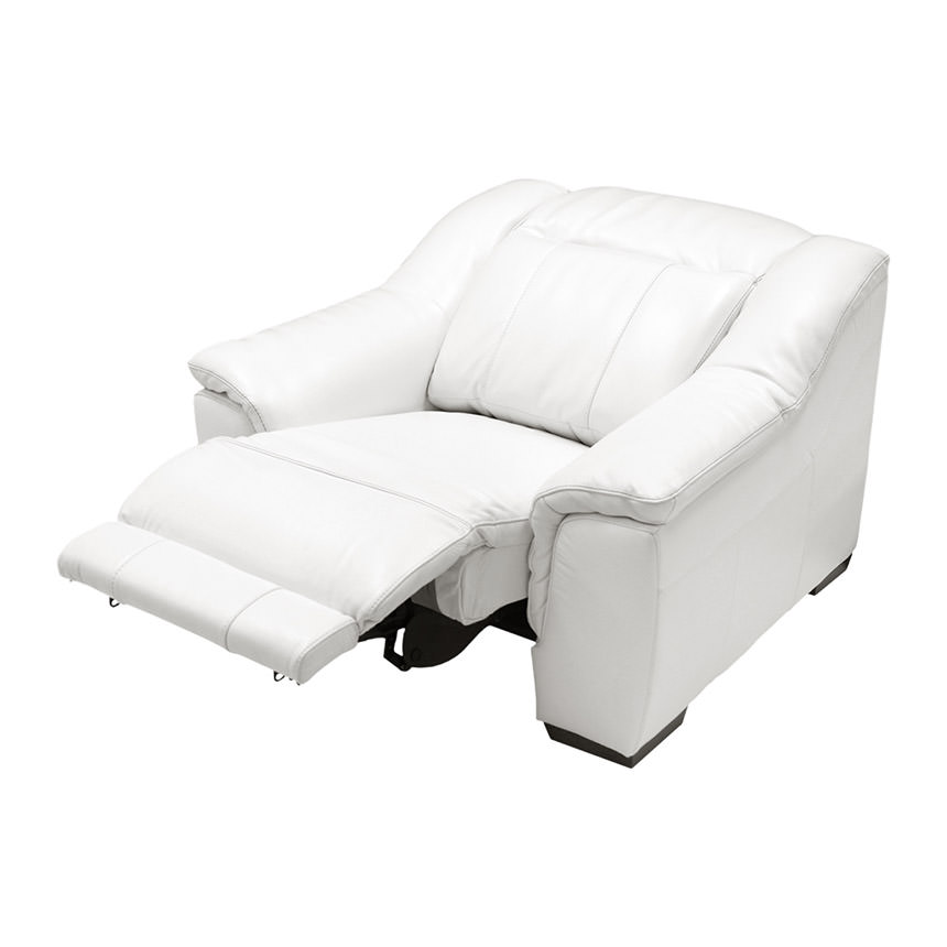 Davis White Power Motion Leather Recliner  alternate image, 4 of 10 images.