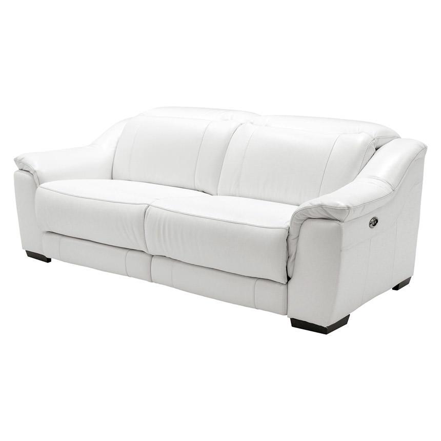 Davis White Power Motion Leather Sofa