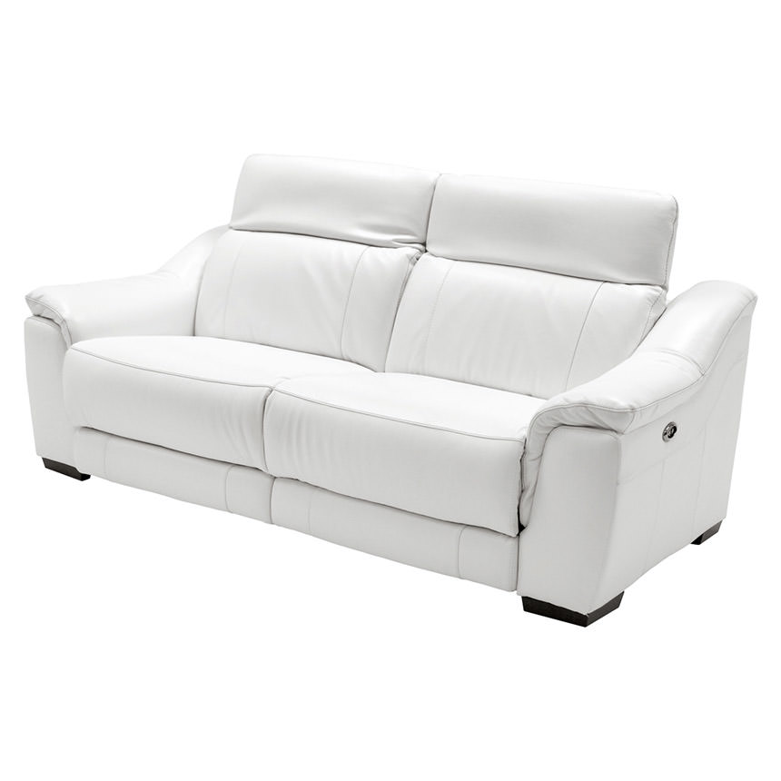 Davis White Power Motion Leather Sofa  alternate image, 3 of 11 images.