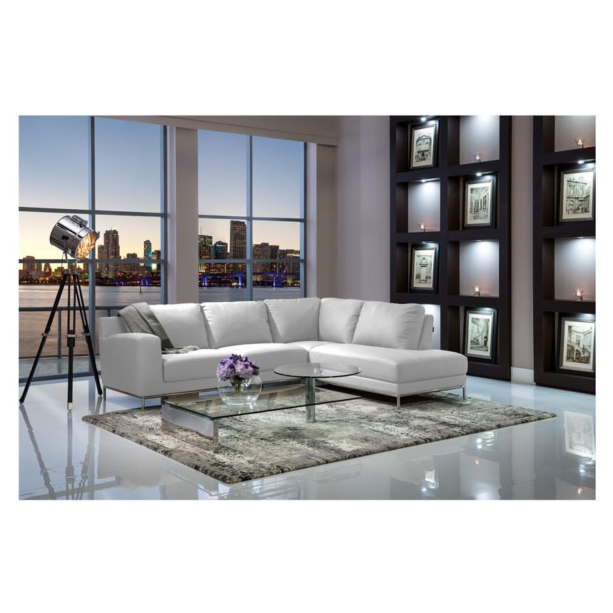 Cantrall White Corner Sofa W Left, El Dorado Furniture Hialeah