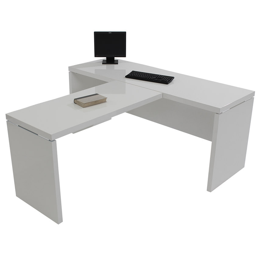 Sedona White L-Shaped Desk Made in Italy  alternate image, 3 of 5 images.