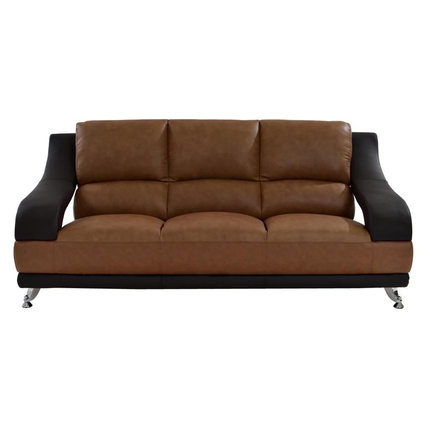 Jedda Camel Leather Sofa  alternate image, 3 of 7 images.